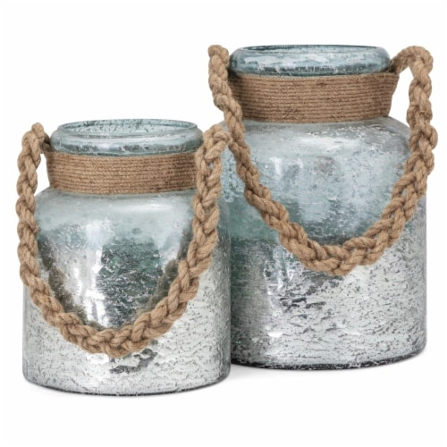 IMAX 23192-2 Roald Lanterns with Braided Rope Handle - Set of 2 Perspective: front