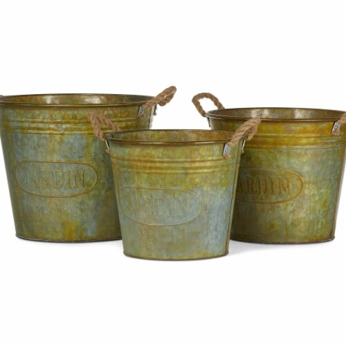 IMAX Z27816-3 Walther Galvanized Planters with Rusted Finish - Green, Set of 3 Perspective: front