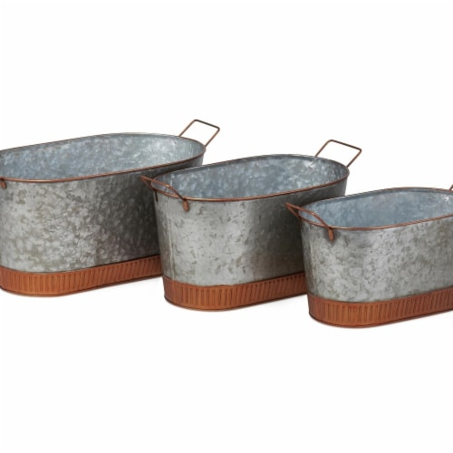 IMAX Z27852-3 Linette Galvanized Planters - Gray, Set of 3 Perspective: front