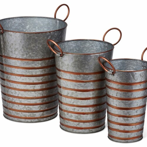IMAX Z27860-3 Daniel Galvanized Planters - Gray, Set of 3 Perspective: front