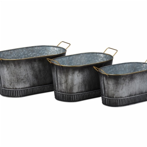 IMAX Z27868-3 Gilbert Graphite Finish Galvanized Planters - Gray, Set of 3 Perspective: front