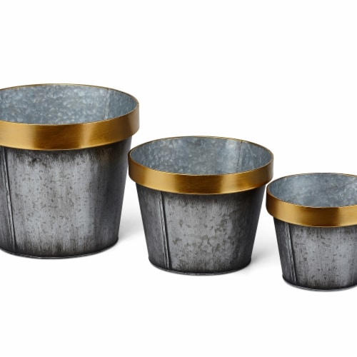 IMAX Z27872-3 Yvonne Galvanized Planters - Gold, Set of 3 Perspective: front