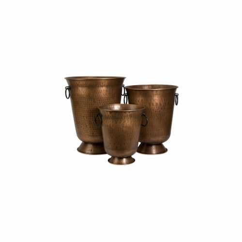 Home Decor Improvements 44186-3 Meziere Copper Plated Planters - Set of 3 Perspective: front