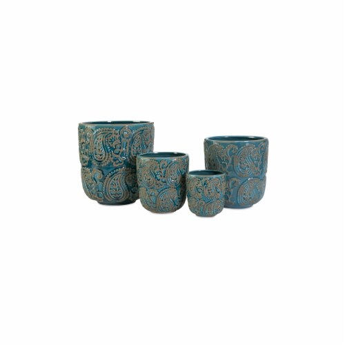 Home Decor Improvements 64329-4 Paisley Blue Planters - Set of 4 Perspective: front