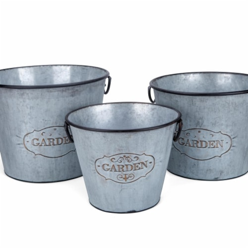 IMAX Z78270-3 Marin Galvanized Round Planters - Gray, Set of 3 Perspective: front