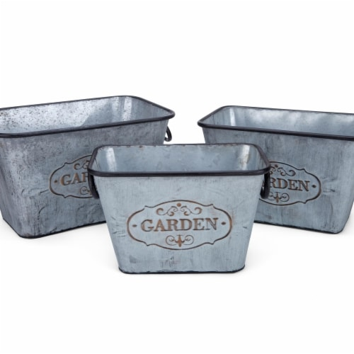 IMAX Z78274-3 Marin Galvanized Rectangular Planters - Gray, Set of 3 Perspective: front