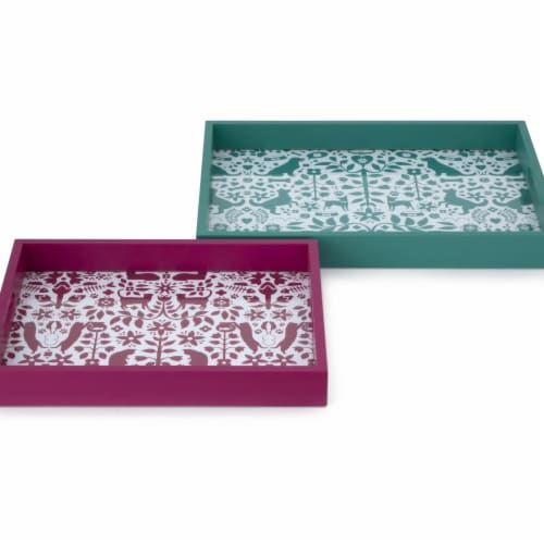 IMAX 90583-2 Otomi Pet Trays - Set of 2 Perspective: front