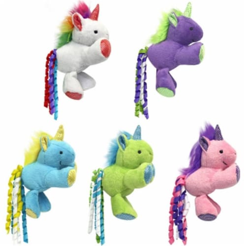 Multipet 60020642 3 in. Unicorn with Catnip Cat Toy Perspective: front