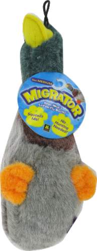 "Multipet Plush 9.5"" Migrator Mallard Dog Toy Perspective: front"