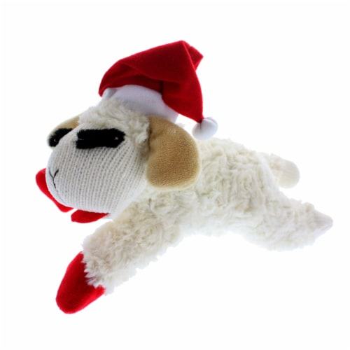 Multipet Plush Lamb Chop Dog Toy Perspective: front