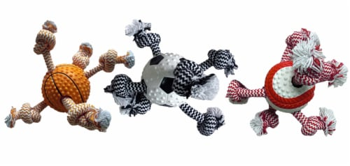 Multipet Ball Rope Dog Toy - Assorted Perspective: front