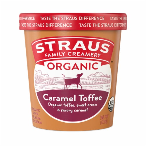 Straus Organic Caramel Toffee Crunch Ice Cream Perspective: front