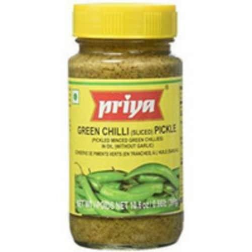 Priya Green Chilli Pickle No Garlic - 300 Gm Perspective: front