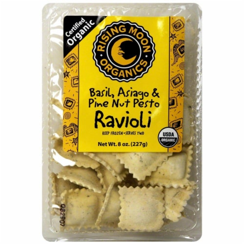 Rising Moon Organics Basil Asiago & Pine Nut Pesto Ravioli Perspective: front