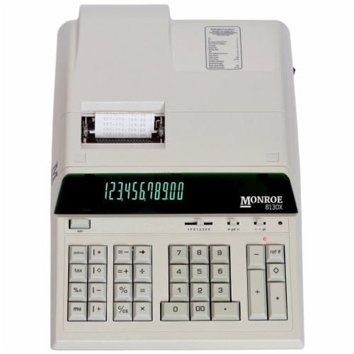 Monroe 8130X Heavy Duty Printing Calculator for Accounting and Purchasing Professionals Perspective: front