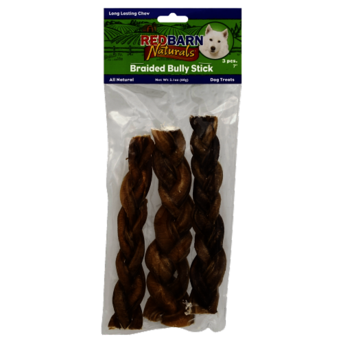 Redbarn Naturals 7 Inch Braided Bully Stick Perspective: front