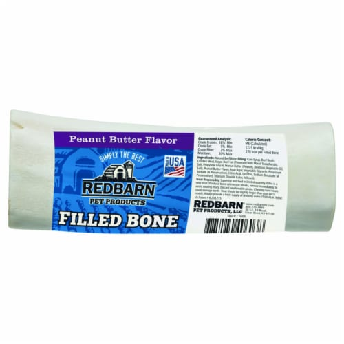 Redbarn Peanut Butter Flavor Large Filled Bone Dog Treat Perspective: front
