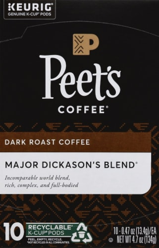 Peet's Coffee Major Dickason's Blend Dark Roast Coffee K-Cup Pods 10 Count Perspective: front
