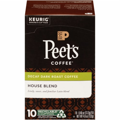 Peet's Coffee House Blend Decaffeinated Dark Roast Coffee K-Cup Pods Perspective: front