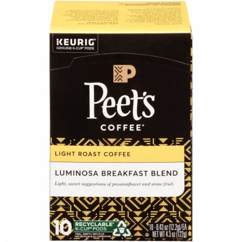Peet's Coffee Colombia Luminosa Light Roast Coffee K-Cup Pods Perspective: front