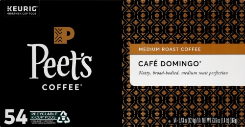 Peet's Coffee Cafe Domingo Medium Roast Coffee K-Cup Pods 54 Count Perspective: front