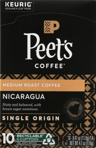 Peet's Coffee Nicaragua Adelante Medium Roast Coffee K-Cup Pods 10 Count Perspective: front