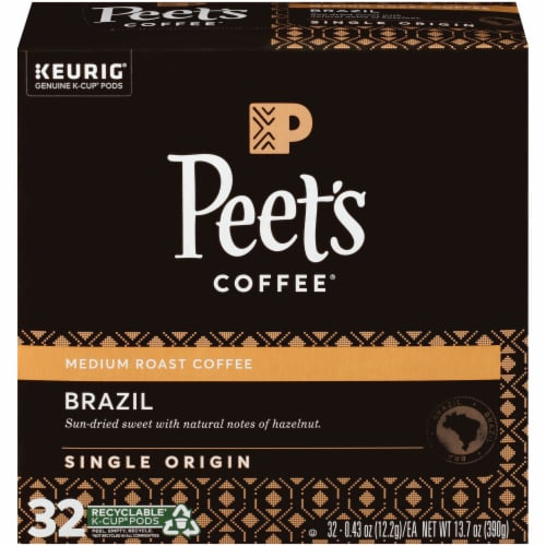 Peet's Coffee Brazil Minas Naturais Medium Roast Coffee K-Cup Pods 32 Count Perspective: front