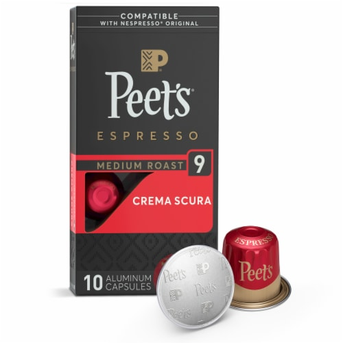 Peet's Coffee Crema Scura Arabica Espresso Coffee Aluminum Capsules Perspective: front
