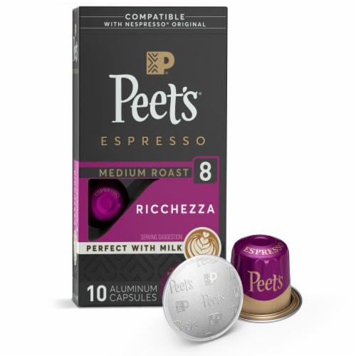 Peet's Coffee Ricchezza Arabica Espresso Coffee Aluminum Capsules Perspective: front