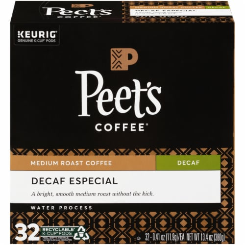 Peet's Coffee Decaf Especial K-Cup Pods 32 Count Perspective: front