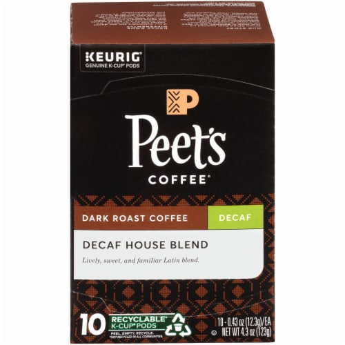 Peet's Coffee® Decaf House Blend Dark Roast Coffee K-Cup Pods Perspective: front