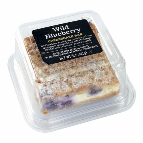 Atlanta Cheesecake Company Wild Blueberry Mascarpone Cheesecake Bar Perspective: front