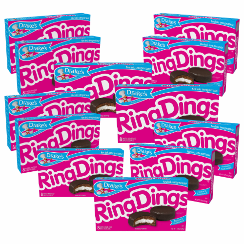 Drake's Ring Dings, 12 Boxes, 96 Individually Wrapped Ring-Shaped Devils Food Cakes Perspective: front