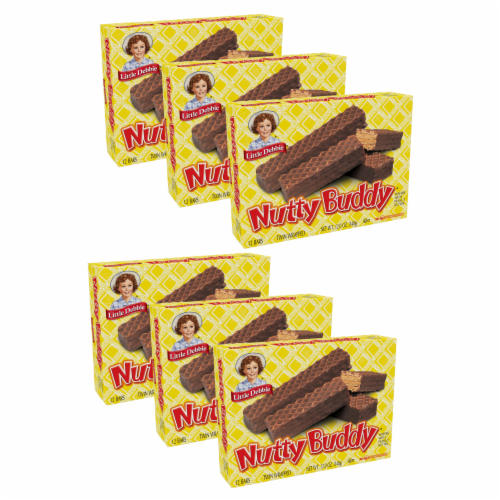 Little Debbie Nutty Buddy Bars, 6 Boxes, 72 Twin Wrapped Wafer Cookies with Peanut Butter Perspective: front