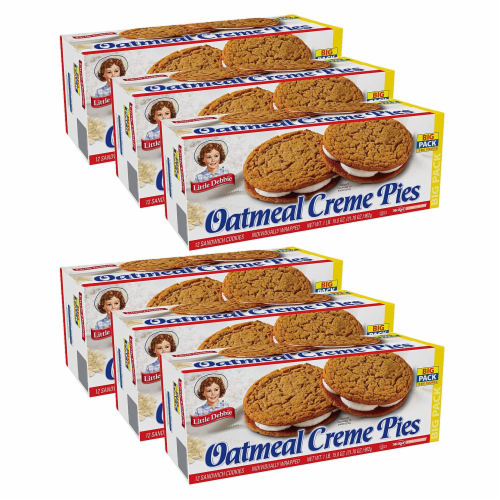 Oatmeal Creme Pies, Big Packs, 6 Boxes, 72 Individually Wrapped Sandwich Cookies Perspective: front