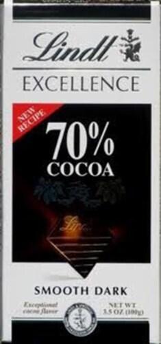 Lindt Dark Chocolate Bars, 3.5 oz, 70%, 4-pk Perspective: front