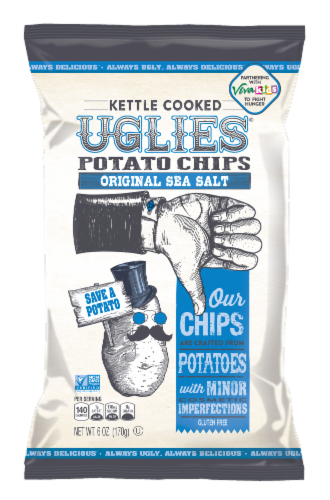UGLIES Original Sea Salt Kettle Cooked Potato Chips Perspective: front