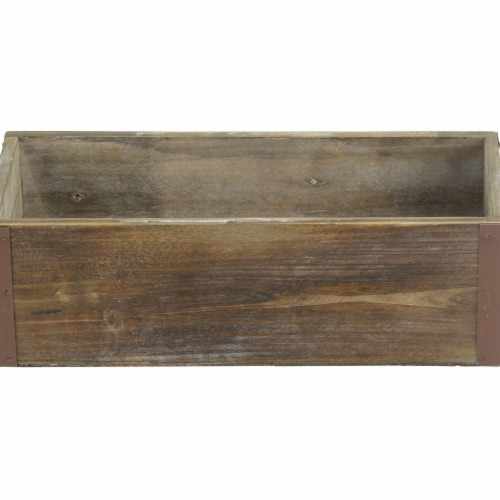 Cheungs 4911-12 Brown Wooden Rectangular Planter with Metal Corner Accents Perspective: front
