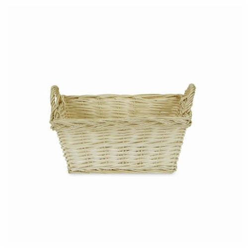 Cheungs UW-9181 Tapered Rectangular Natural Willow Basket with Side Handles Perspective: front
