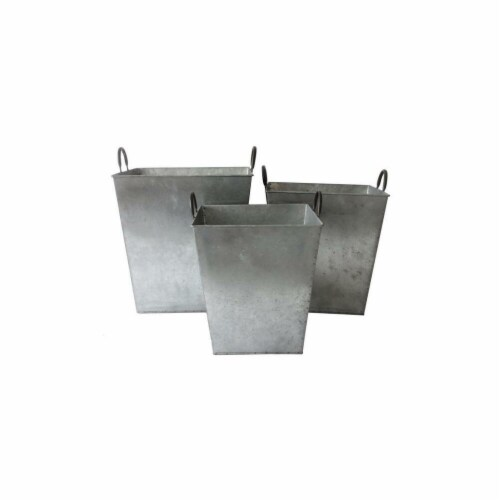 Cheungs FP-4003-3 Large Set of 3 Tapered Metal Planter with Side handles Perspective: front