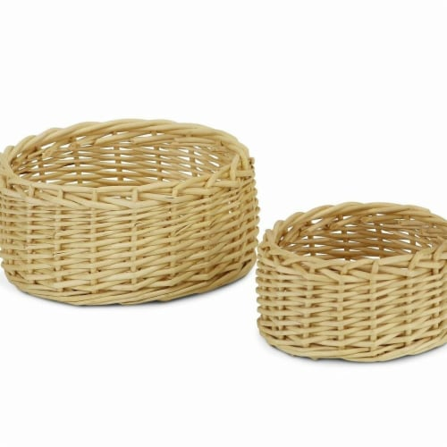 Cheungs UW-9315-2 Round Natural Willow Basket - Set of 2 Perspective: front