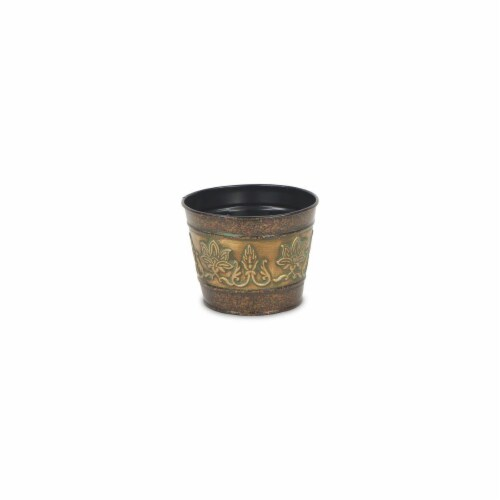 Cheungs 4766-04 5 in. Circular Metal Planter with Center Floral Design Perspective: front