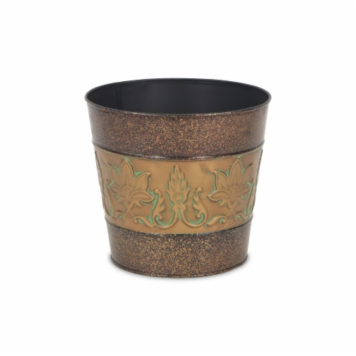 Cheungs 4766-06 7.25 in. Circular Metal Planter with Center Floral Design Perspective: front