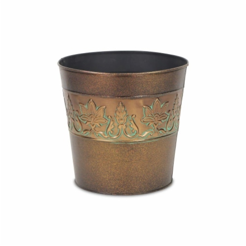 Cheungs 4766-08 9.25 in. Circular Metal Planter with Center Floral Design Perspective: front