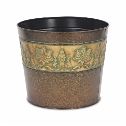 Cheungs 4766-10 10.75 in. Circular Metal Planter with Center Floral Design Perspective: front