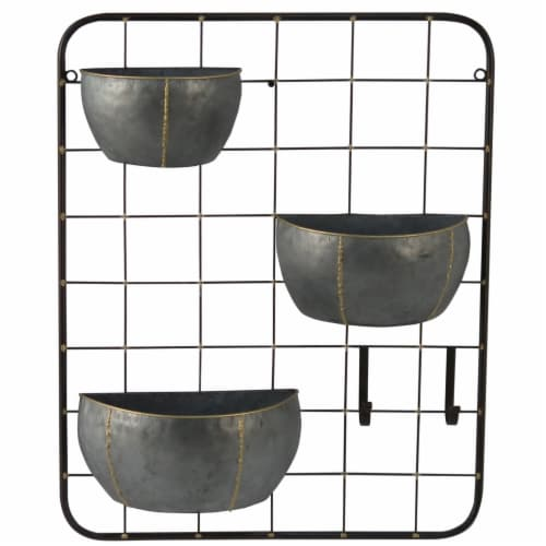 Cheungs 5008 3 Pot Wall Storage with 2 Metal Hooks Perspective: front