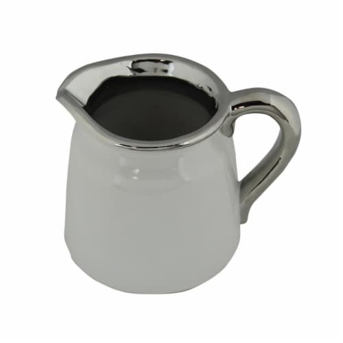 Cheungs 5083S-SV 2 lbs White Ceramic Pitcher with Electroplate Silver Trim Perspective: front