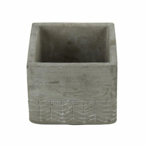 Cheungs 5092S Square Cement Planter with Arrow Design Perspective: front