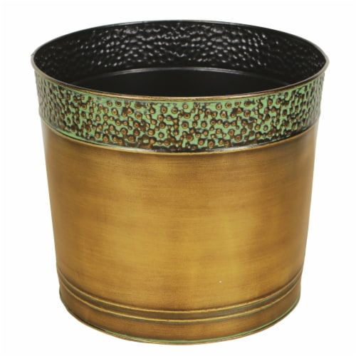 Cheungs 5064-10 10 in. Round Metal Planter Perspective: front