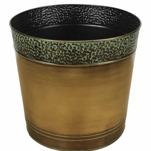 Cheungs 5064-12 12 in. Round Metal Planter Perspective: front